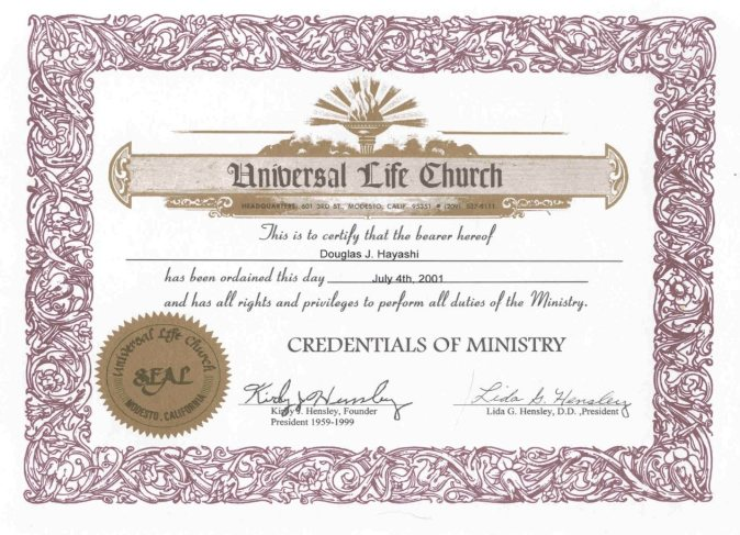 Presenting the reverend doctor doug hayashi for How do i get ordained to perform wedding ceremonies